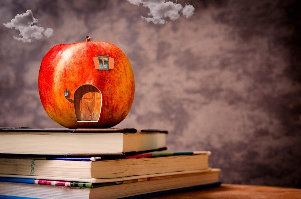 Kirjojen päällä on omena, madon koti.