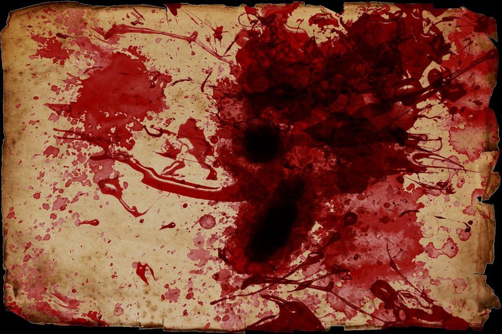 Verijälkiä kankaalla - punaista väriä